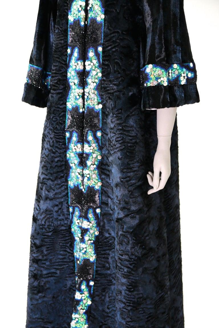 Women's Pelush Blue Faux Fur Astrakhan Caftan Coat W/Embroidery And Detachable Hood - S For Sale