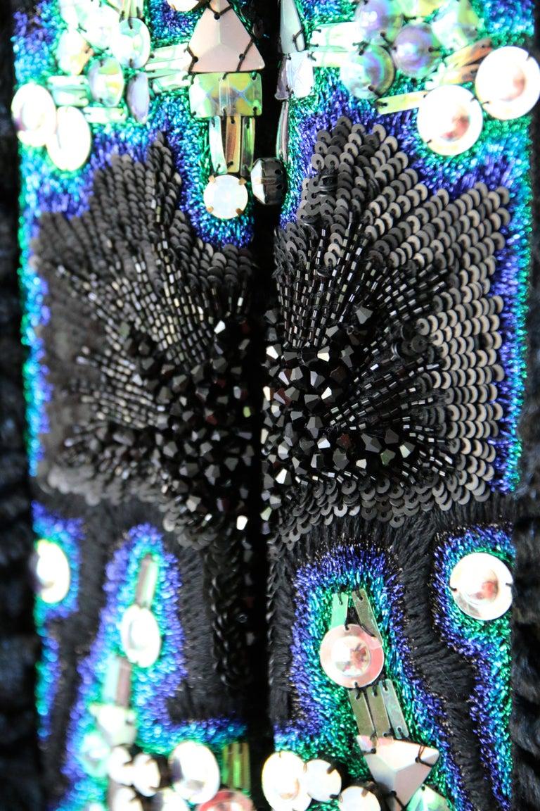 Pelush Blue Faux Fur Astrakhan Caftan Coat W/Embroidery And Detachable Hood - S For Sale 1