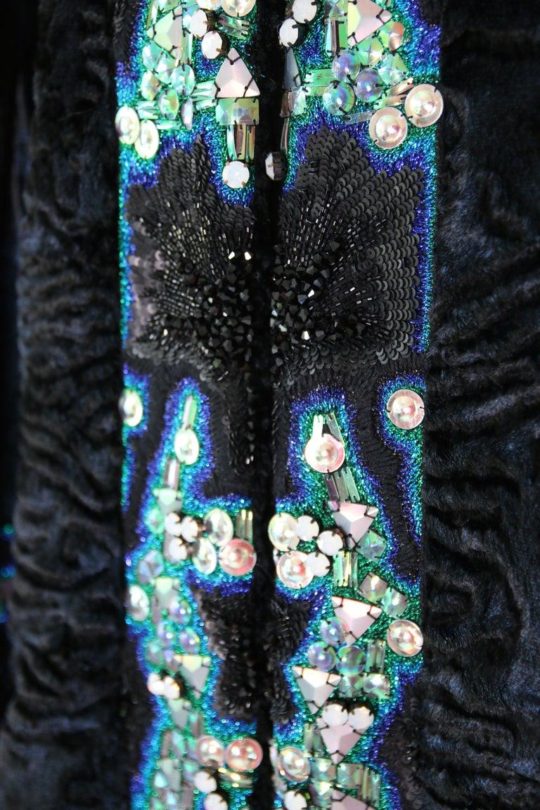 Pelush Blue Faux Fur Astrakhan Caftan Coat W/Embroidery And Detachable Hood - S For Sale 2