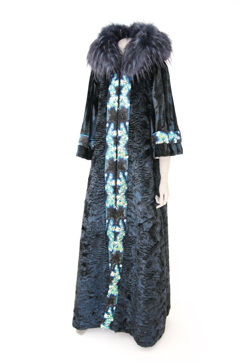 Pelush Blue Faux Fur Astrakhan Caftan Coat W/Embroidery And Detachable Hood - S For Sale 3