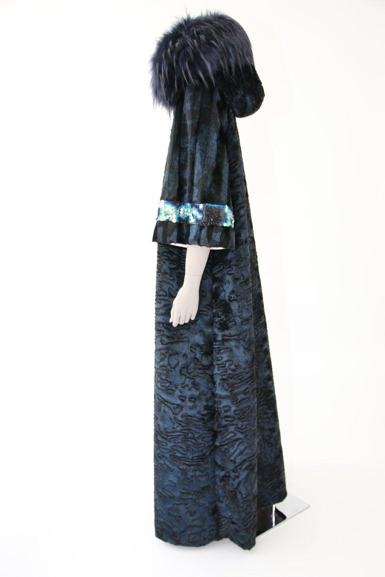 Pelush Blue Faux Fur Astrakhan Caftan Coat W/Embroidery And Detachable Hood - S For Sale 4