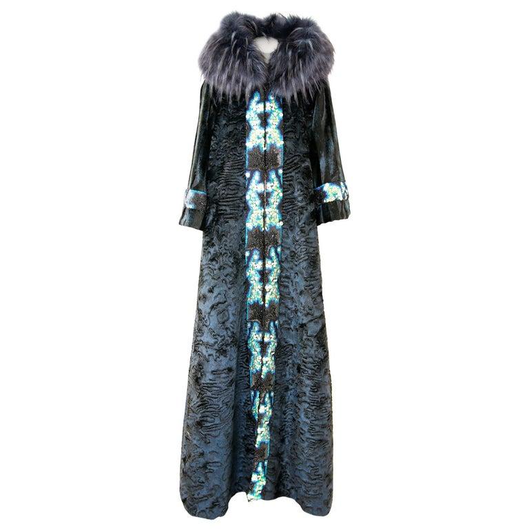 Pelush Blue Faux Fur Astrakhan Caftan Coat W/Embroidery And Detachable Hood - S For Sale