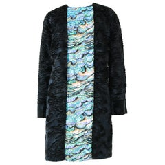 Pelush Blue Faux Fur Astrakhan Coat with Embroidery Details - X-Small