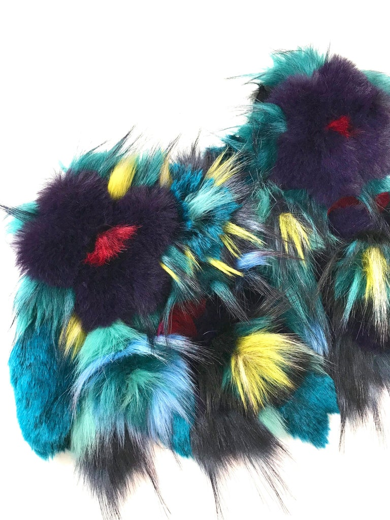Blue Pelush Botanical Faux Fur Collar With Three Dimensional Flowers - One Size For Sale