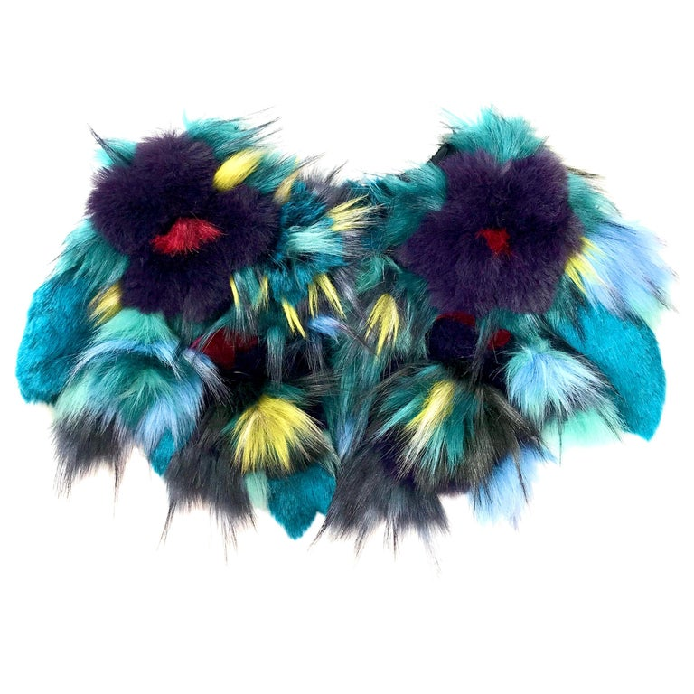 Pelush Botanical Faux Fur Collar With Three Dimensional Flowers - One Size For Sale