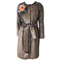 Pelush Bronze Faux Fur Coat With Belt - Reversible - Medium