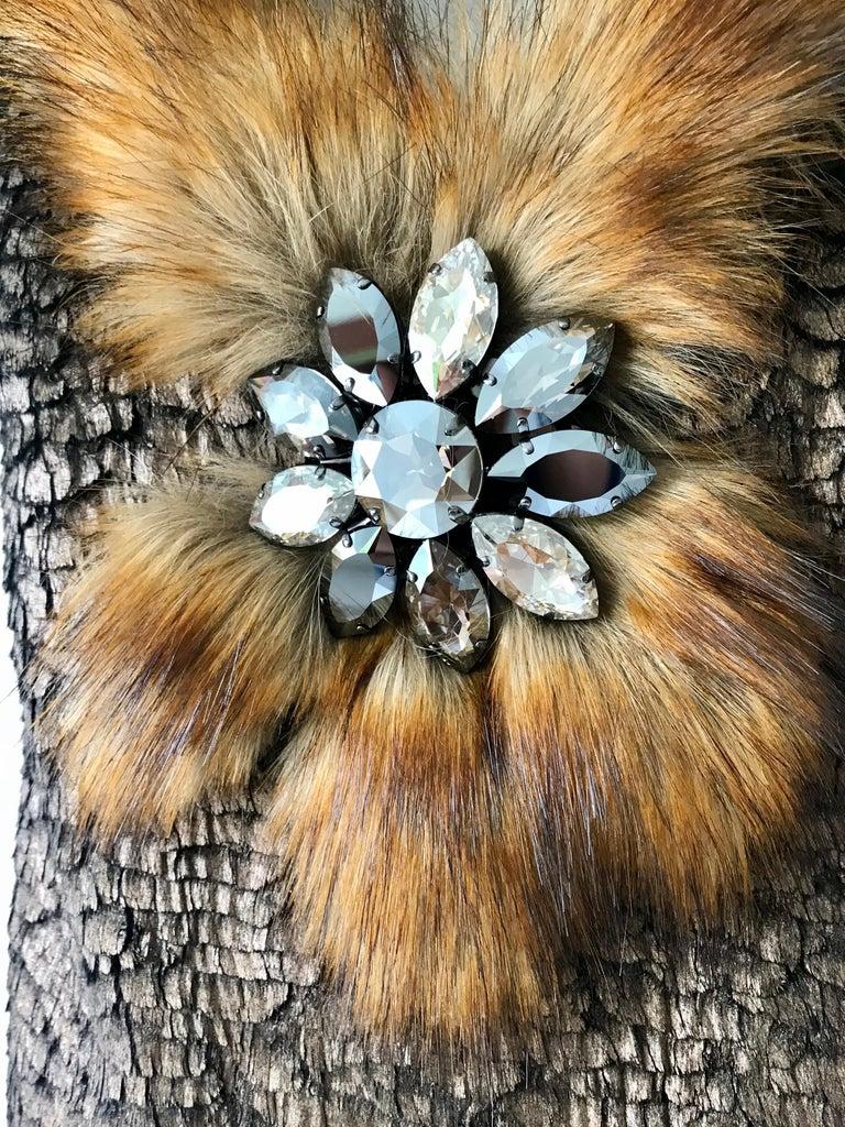 Brown Pelush Bronze Faux Fur Mini Dress With Swarovsky Flower - Small For Sale