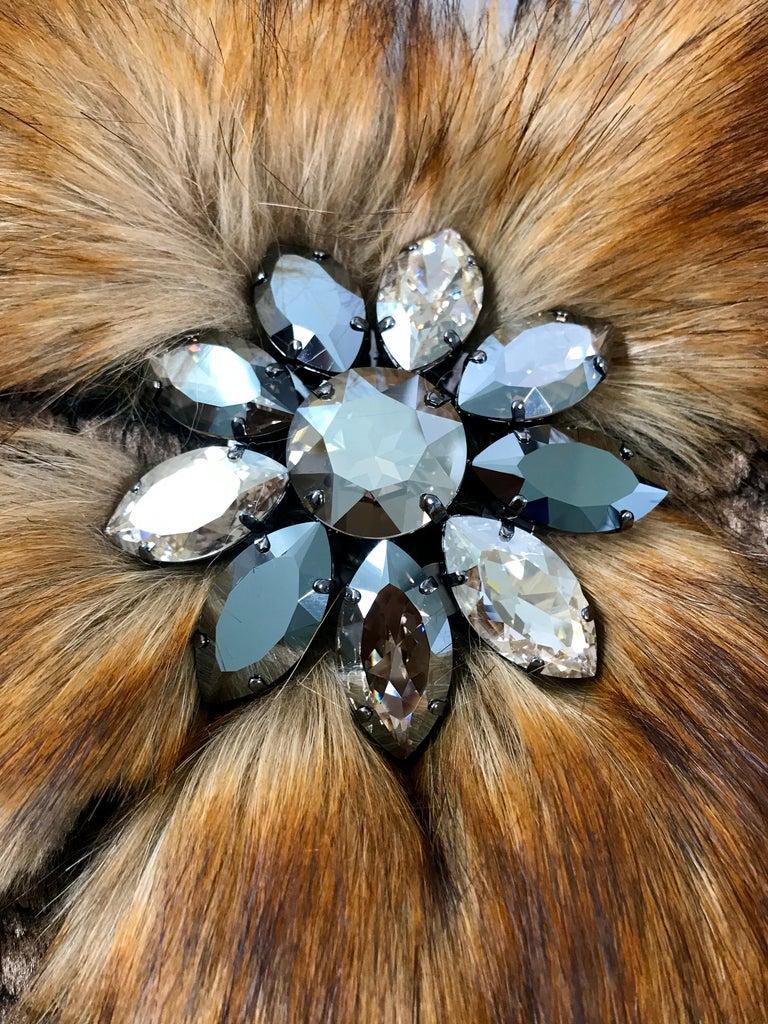 Pelush Bronze Faux Fur Mini Dress With Swarovsky Flower - Small For Sale 1