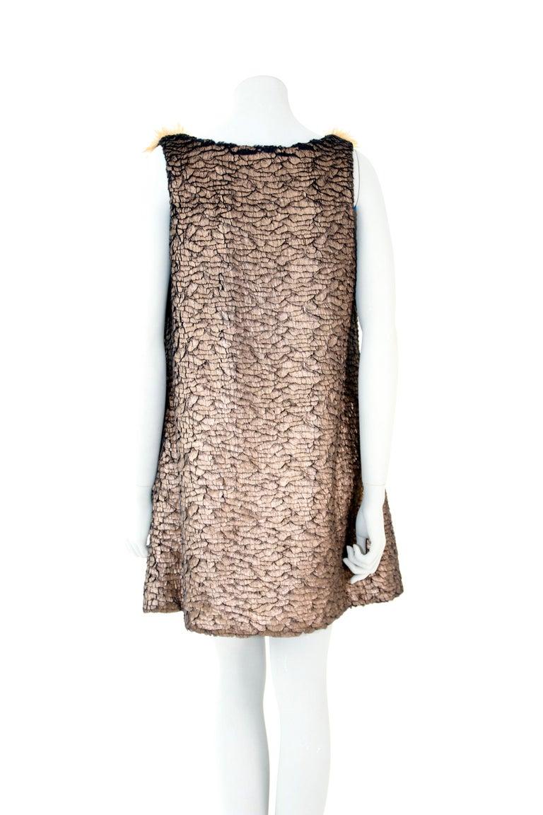 Pelush Bronze Faux Fur Mini Dress With Swarovsky Flower - Small For Sale 2
