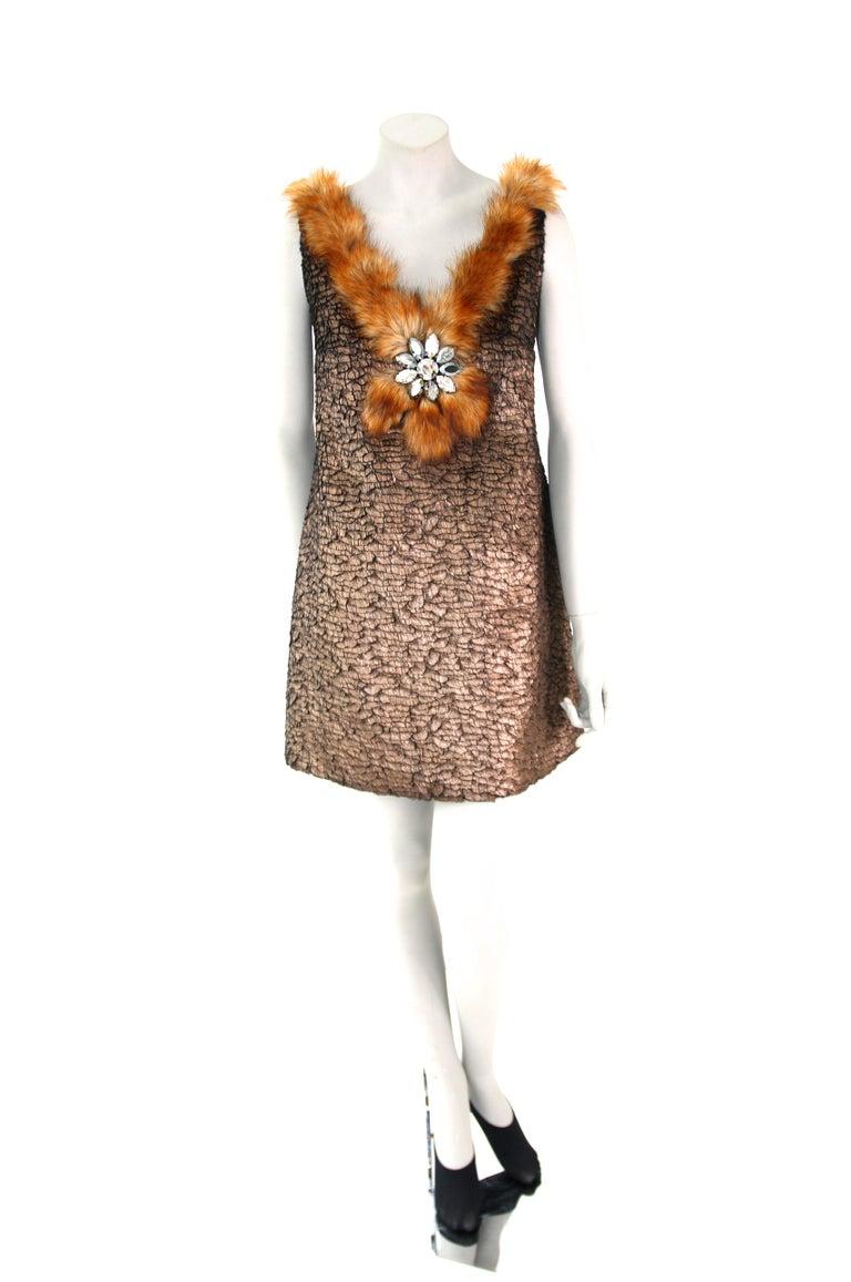 Pelush Bronze Faux Fur Mini Dress With Swarovsky Flower - Small For Sale 3