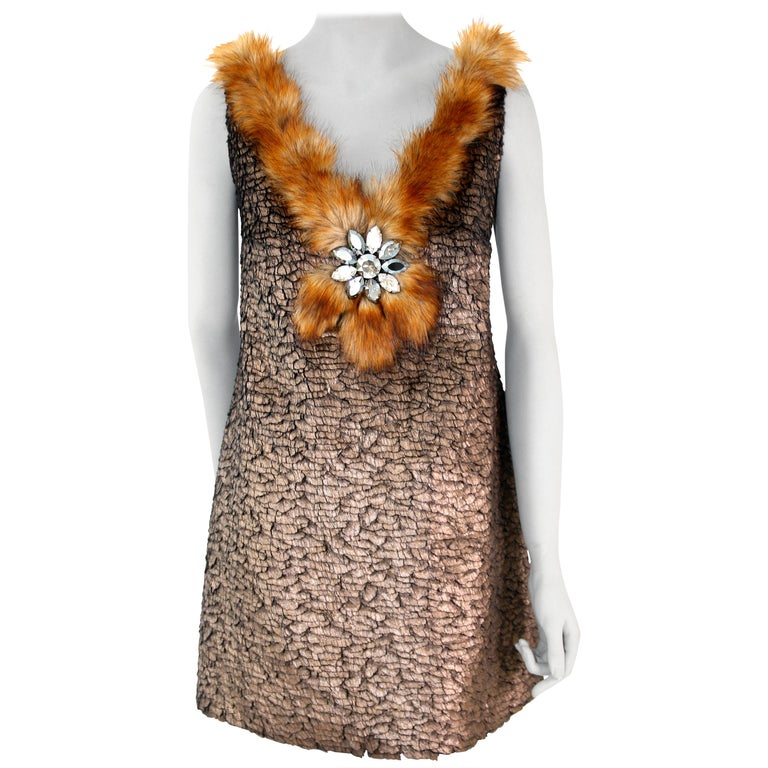 Pelush Bronze Faux Fur Mini Dress With Swarovsky Flower - Small For Sale