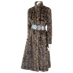 Pelush Brown Astrakhan Faux Fur Coat With Belt - Persian Lamb Fake Fur Coat - XS