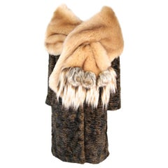 Pelush Champagne Faux Fur Chinchilla Wrap/Scarf With Three Dimensional Rosettes