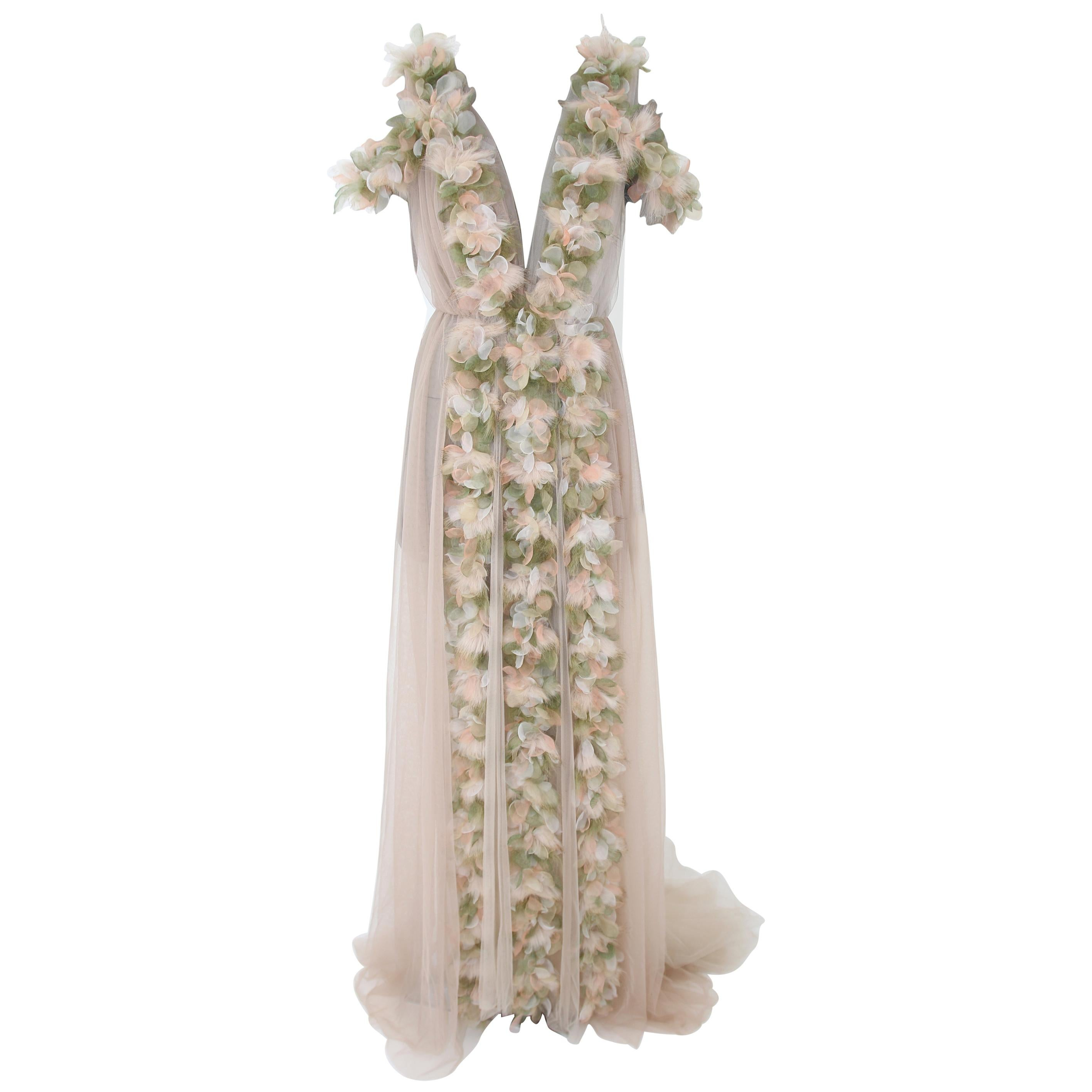 Pelush Champagne Tulle Dress Gown With Tridimensional Flowers And Faux Feathers