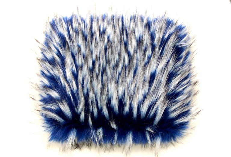 Women's Pelush Cobalt Blue Faux Fur Fox Hat - Oversized  For Sale