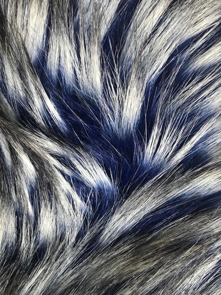 Pelush Cobalt Blue Faux Fur Fox Hat - Oversized  For Sale 1