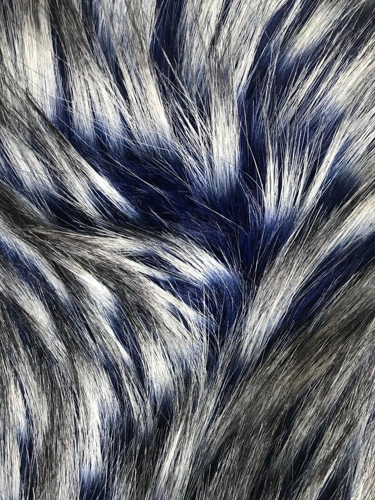 Pelush Cobalt Blue Faux Fur Fox Hat - Oversized  For Sale 2