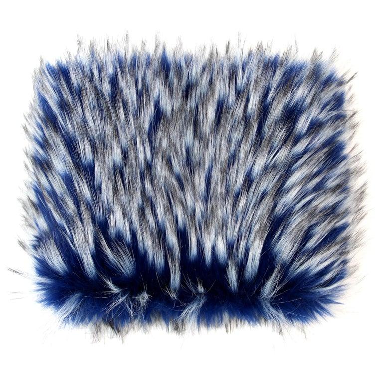 Pelush Cobalt Blue Faux Fur Fox Hat - Oversized  For Sale