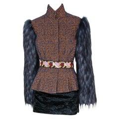 Pelush Copper And Blue Brocade Faux Fur Fox Jacket - XS/Small