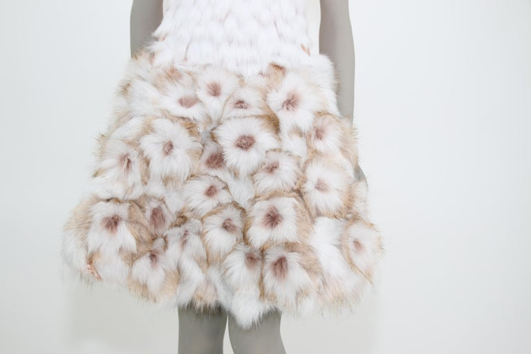 Pelush Couture White Faux Fur Dress With Three Dimensional Flowers - Small For Sale 7