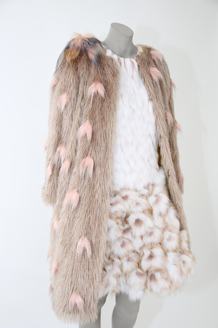 Pelush Couture White Faux Fur Dress With Three Dimensional Flowers - Small For Sale 9