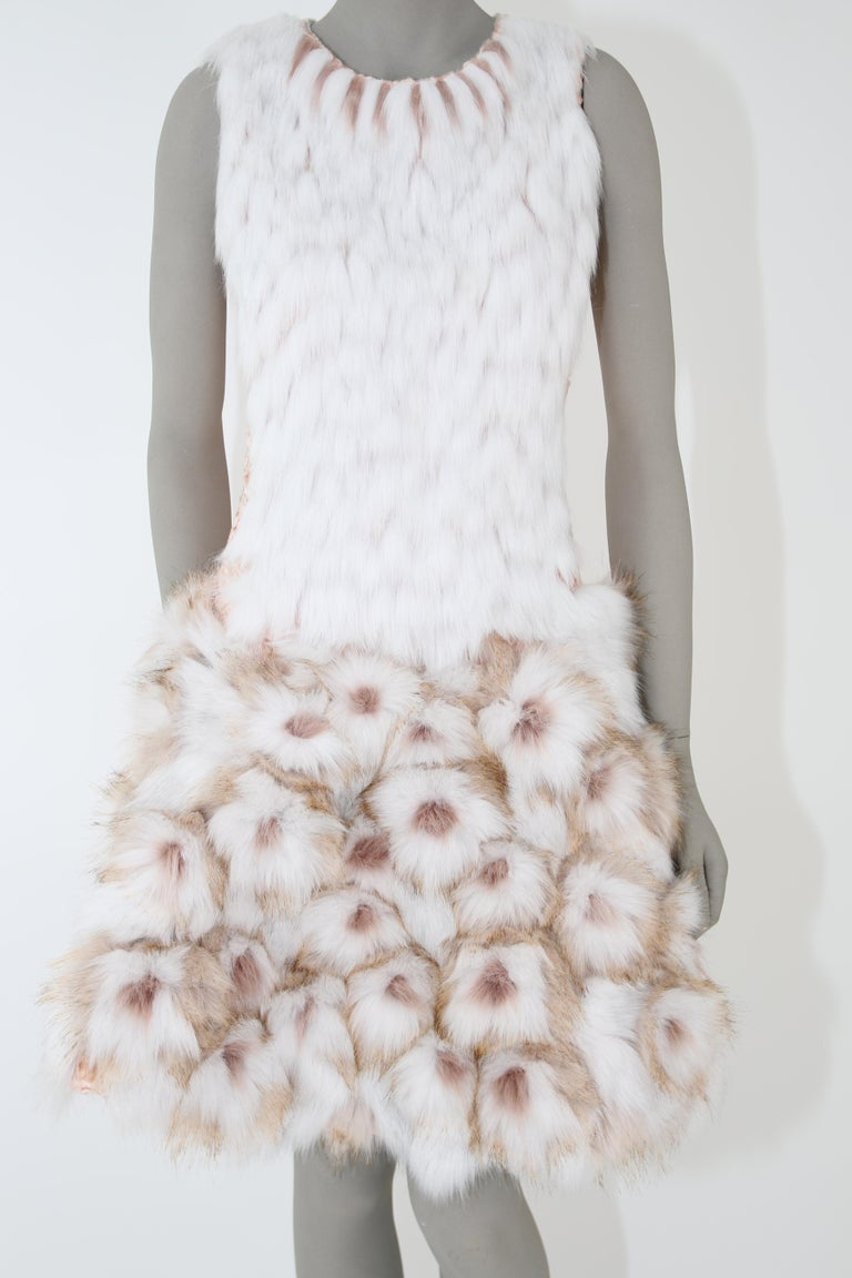 Gray Pelush Couture White Faux Fur Dress With Three Dimensional Flowers - Small For Sale