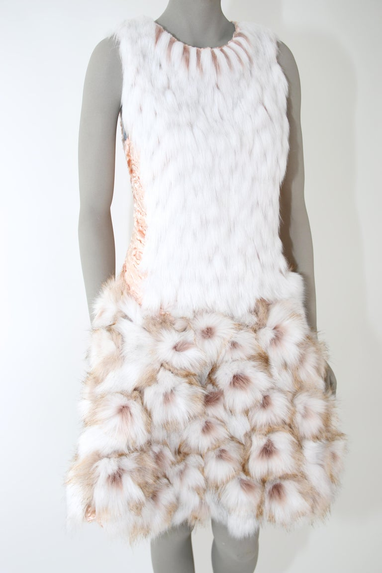 Pelush Couture White Faux Fur Dress With Three Dimensional Flowers - Small In New Condition For Sale In Greenwich, CT