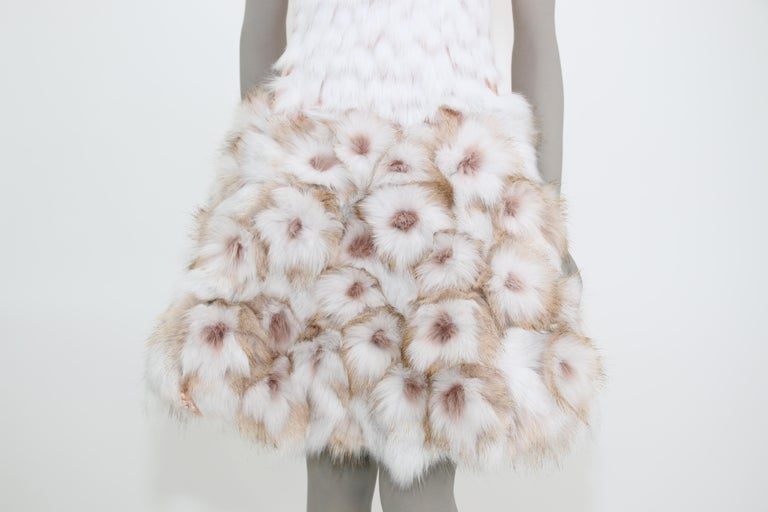 Women's Pelush Couture White Faux Fur Dress With Three Dimensional Flowers - Small For Sale