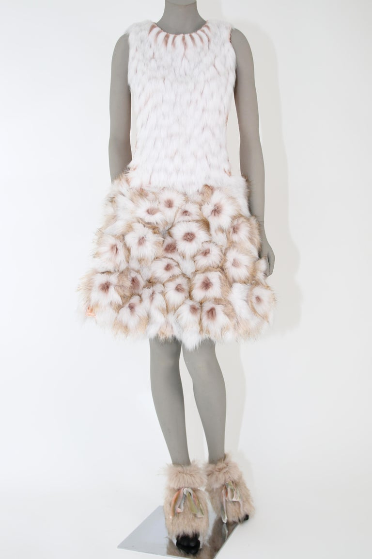 Pelush Couture White Faux Fur Dress With Three Dimensional Flowers - Small For Sale 1