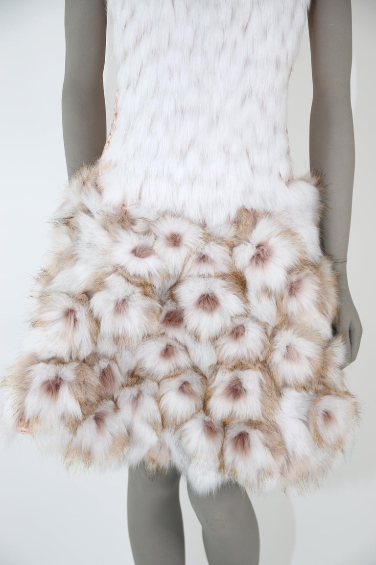Pelush Couture White Faux Fur Dress With Three Dimensional Flowers - Small For Sale 2