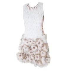 Pelush Couture White Faux Fur Dress With Three Dimensional Flowers - Small