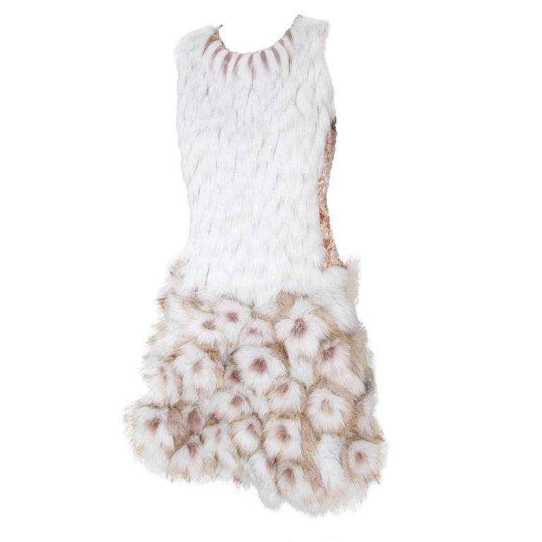 Pelush Couture White Faux Fur Dress With Three Dimensional Flowers - Small For Sale