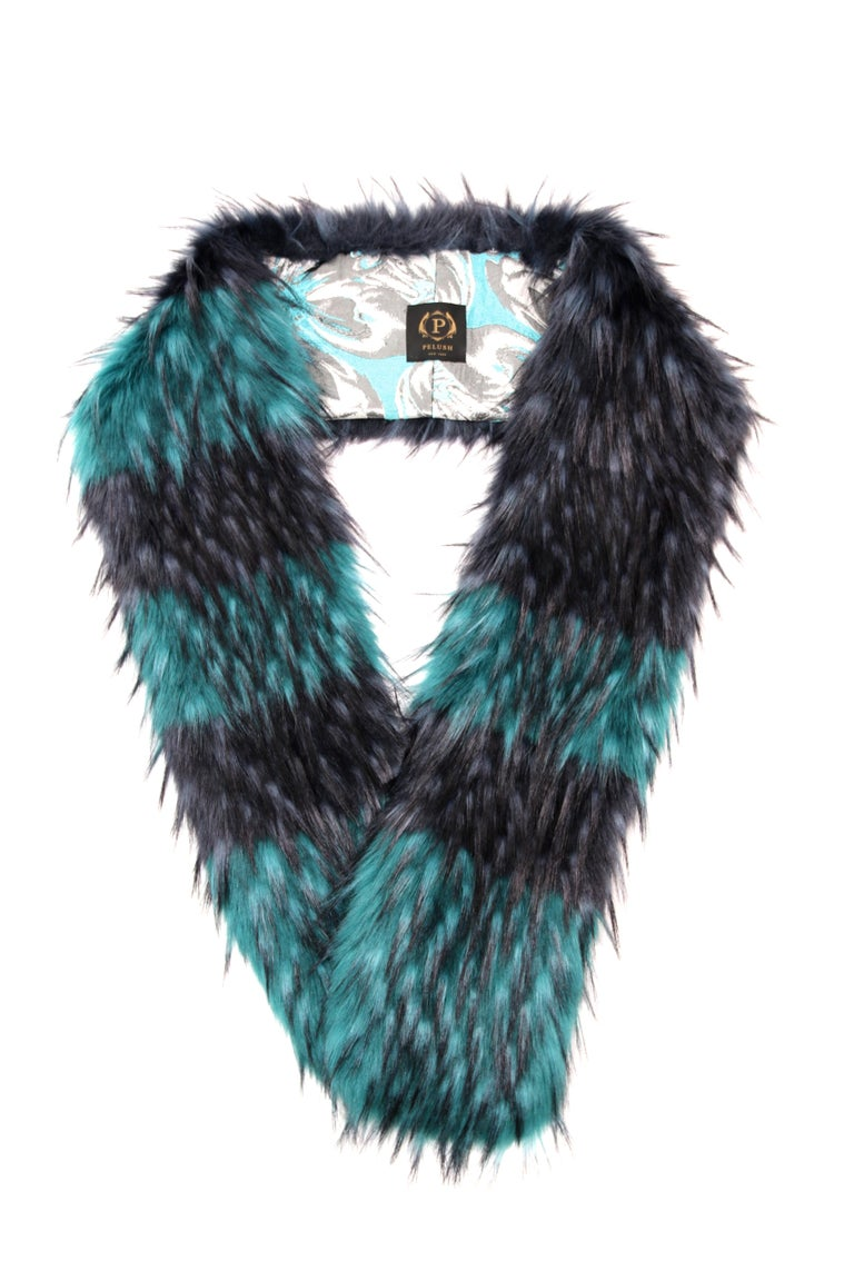 Women's Pelush Emerald Green And Navy Blue Faux Fur Fox Scarf/Stole - One Size For Sale