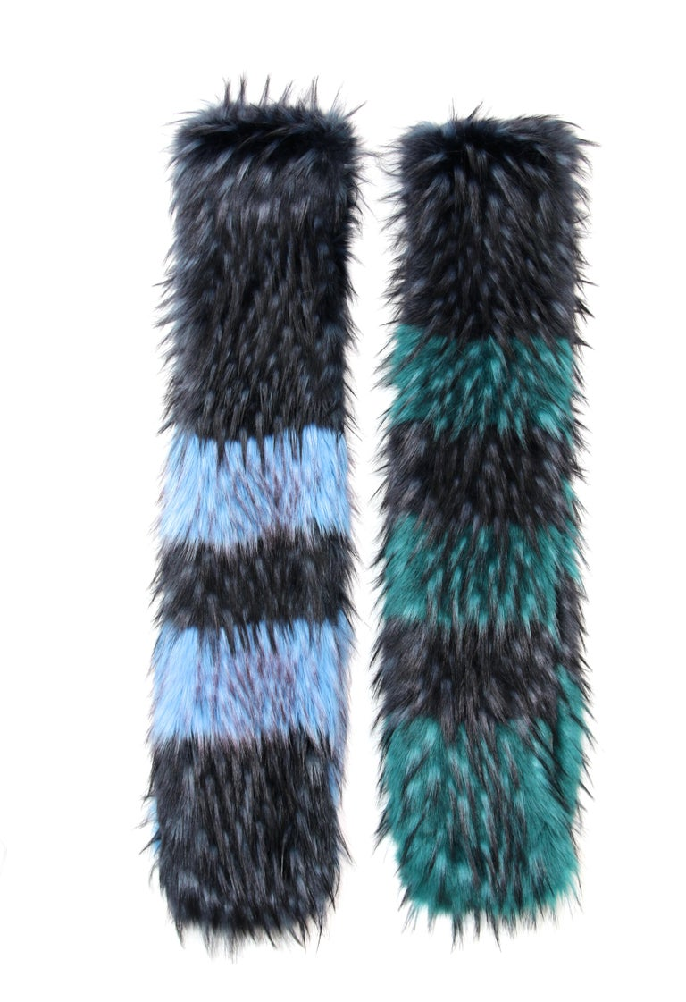 Pelush Emerald Green And Navy Blue Faux Fur Fox Scarf/Stole - One Size For Sale 2