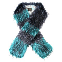 Pelush Emerald Green And Navy Blue Faux Fur Fox Scarf/Stole - One Size