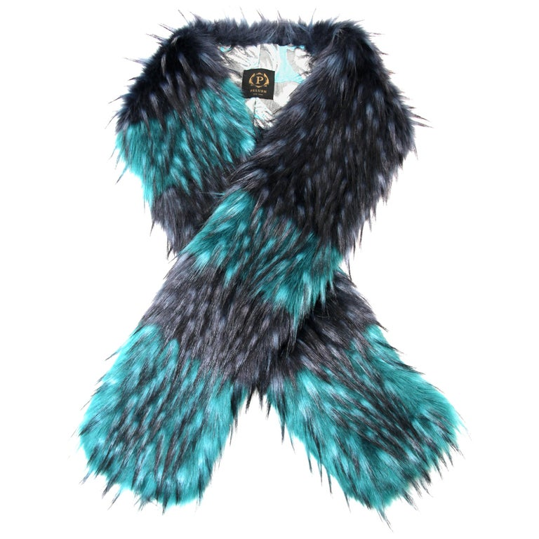 Pelush Emerald Green And Navy Blue Faux Fur Fox Scarf/Stole - One Size For Sale