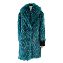 Pelush Emerald Green Faux Fur Coat with Revere' Collar - Small