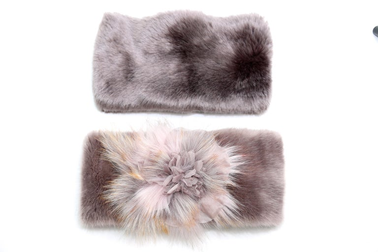 Brown Pelush Faux Fur Scarfs And Hats - Set of 5 - One Size - Get One Free! For Sale