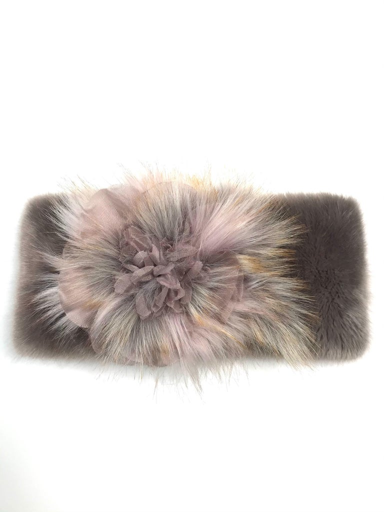 This beautiful pair of Pelush faux fur scarfs are sold as a set and they are one of a kind. Featuring the highest quality man made pelage, these soft and elegant neck warmer in mauve and gray shades are a stunning replica of the mink, fox and