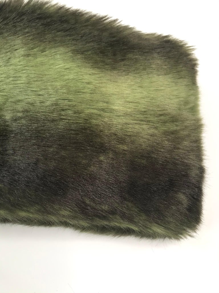 Pelush Faux Fur Scarfs set - Fake Fur Green Chinchilla Neck Warmer/Hats One size For Sale 5