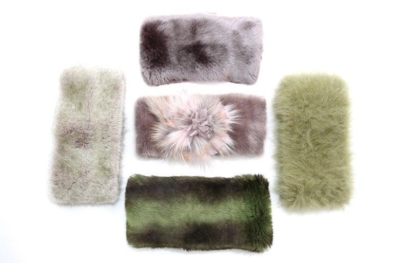 Pelush Faux Fur Scarfs set - Fake Fur Green Chinchilla Neck Warmer/Hats One size For Sale 8