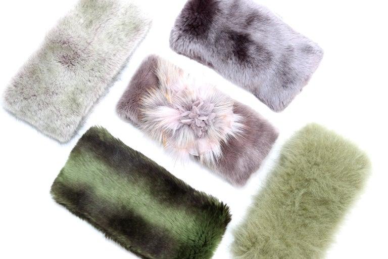 Pelush Faux Fur Scarfs set - Fake Fur Green Chinchilla Neck Warmer/Hats One size For Sale 9
