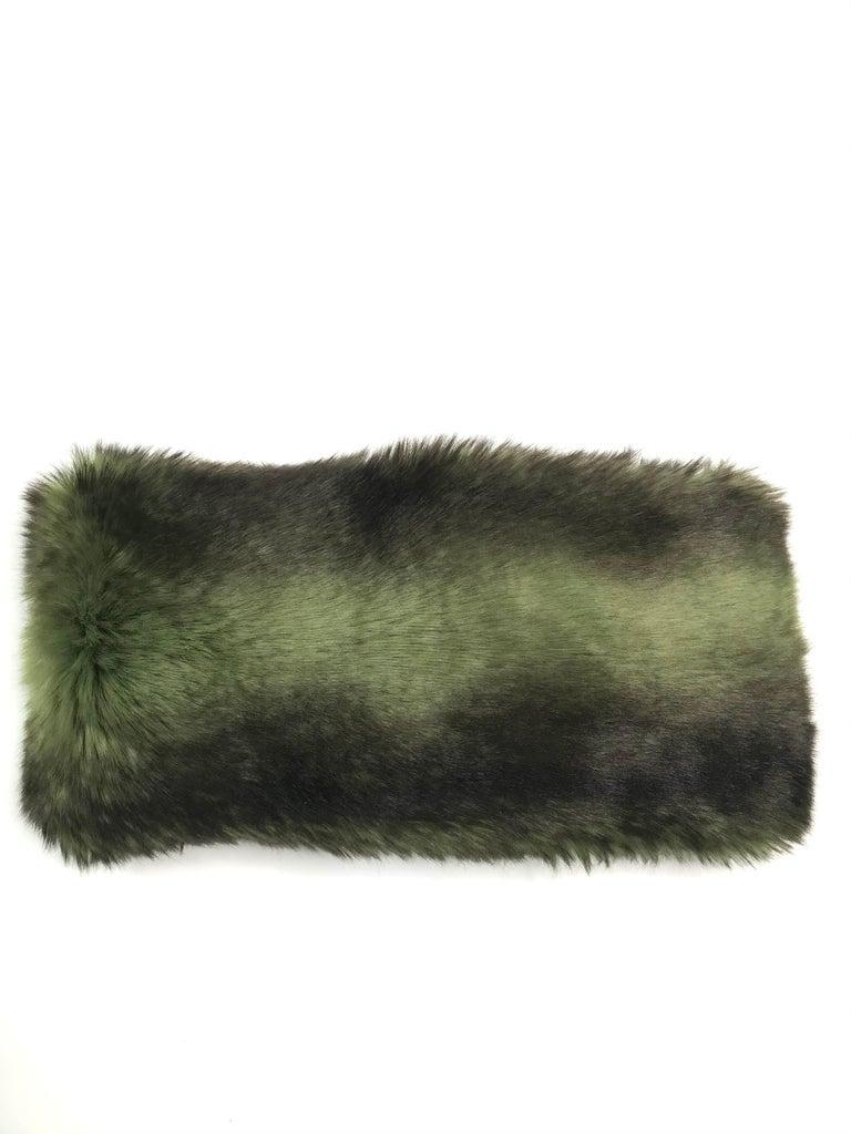 Gray Pelush Faux Fur Scarfs set - Fake Fur Green Chinchilla Neck Warmer/Hats One size For Sale