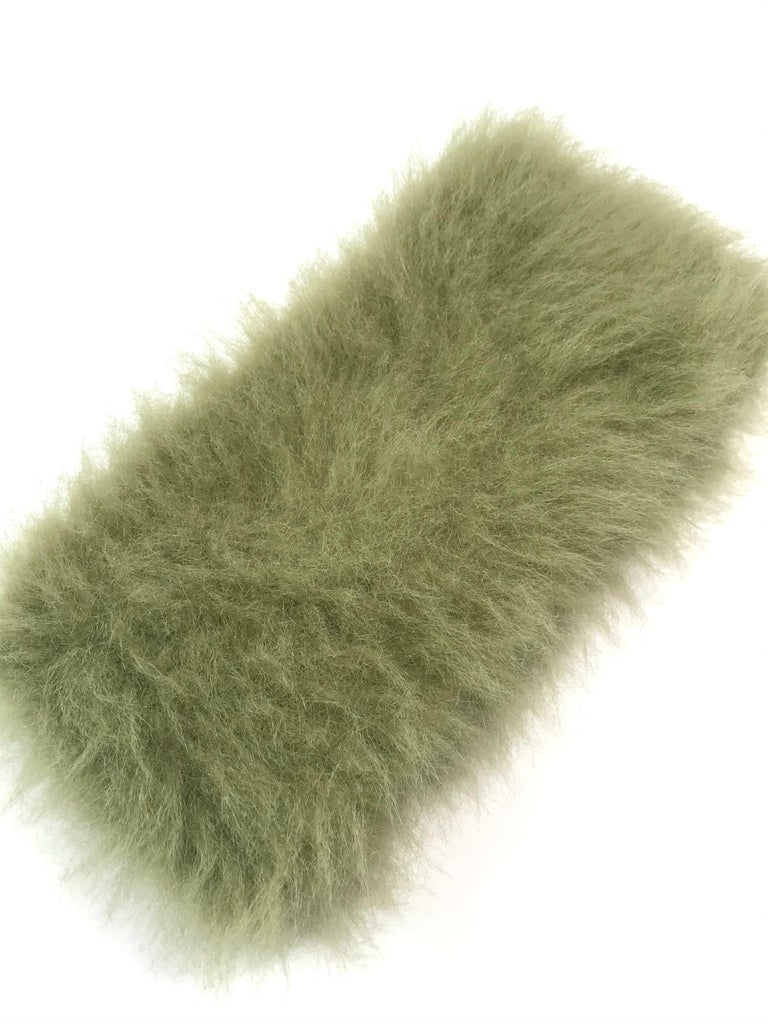 Pelush Faux Fur Scarfs set - Fake Fur Green Chinchilla Neck Warmer/Hats One size In New Condition For Sale In Greenwich, CT