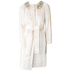 Pelush Ivory Astrakhan Faux Fur Coat With Belt And Jeweled Collar - Medium