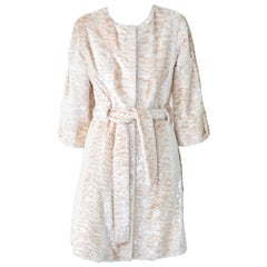 Pelush Ivory Astrakhan Faux Fur Coat With Belt - XS - (1/Small Available)