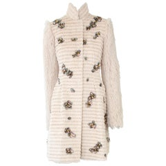 Pelush Light Beige Faux Fur Coat with Handmade Embroidery - X-Small