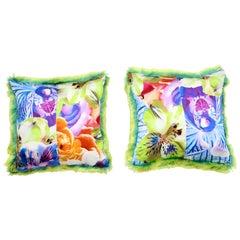Pelush Lime Green Faux Fur Chinchilla Pillows - Small Pair Accent Pillow Set
