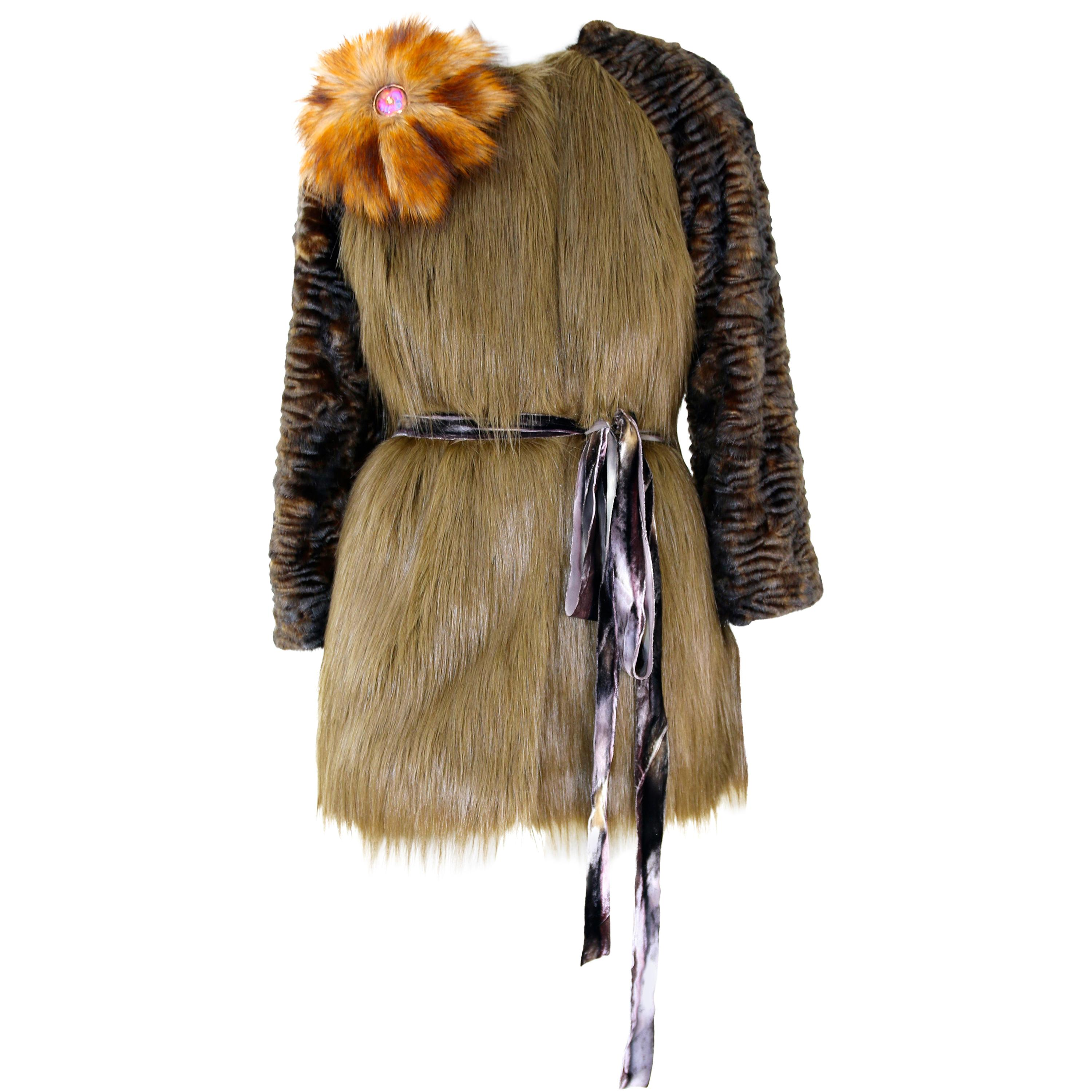 Pelush Moss Green and Brown Faux Fur Jacket In Faux Fox And Astrakhan -XS/Small