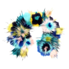 Pelush Multi Color Faux Fur Collar With Three Dimensional Flowers - One Size